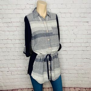 ANTHRO  Postmark Tunic Top Striped Linen Blend S